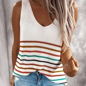 Tops - Multicolor Stripes White Knit Tank Top